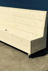 De Meiden Klepbank van steigerhout met opbergruimte op wieltjes