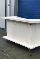 Leonard Bar / Balie / Toonbank / Toogvvan steigerhout verrijdbaar