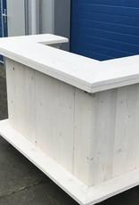 Leonard Bar / Balie / Toonbank / Toogvvan steigerhout verrijdbaar: Model Leonard Plus