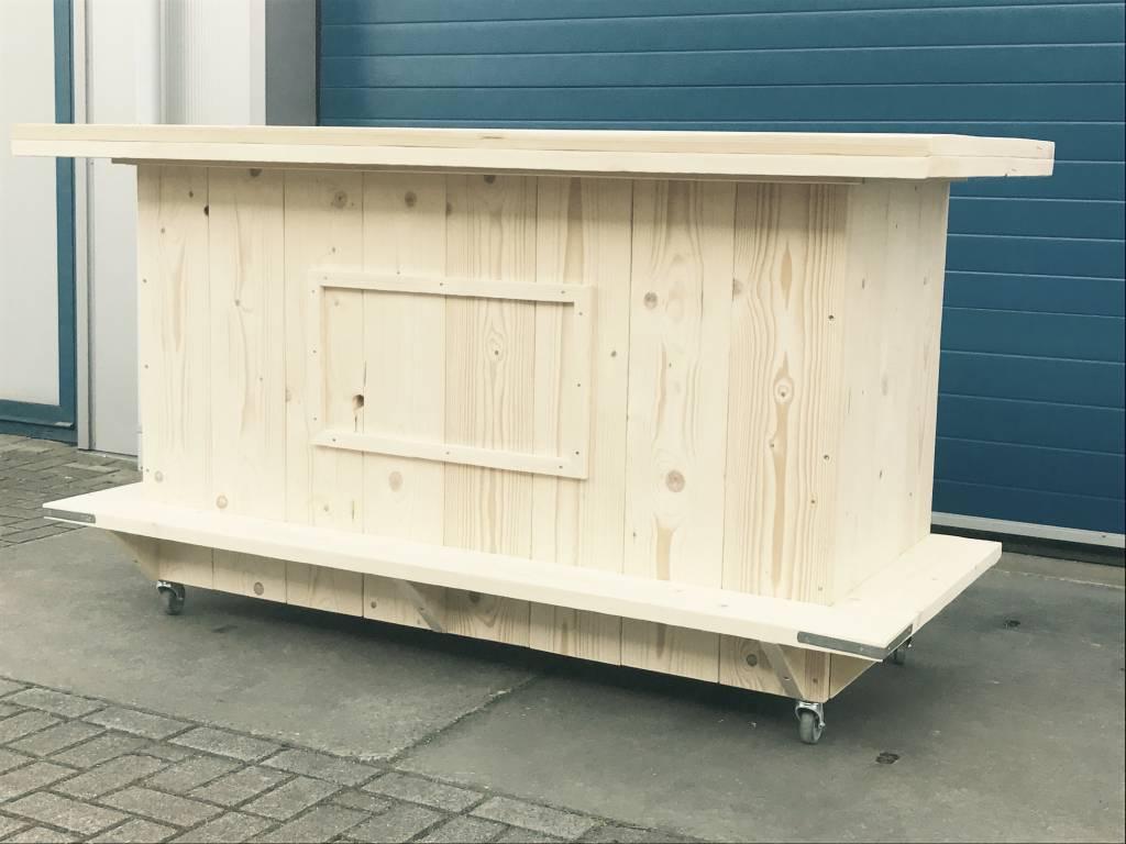 Bar / Balie / Toonbank van steigerhout verrijdbaar