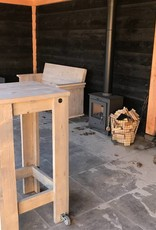 Bartafel van steigerhout  met Bokwielen