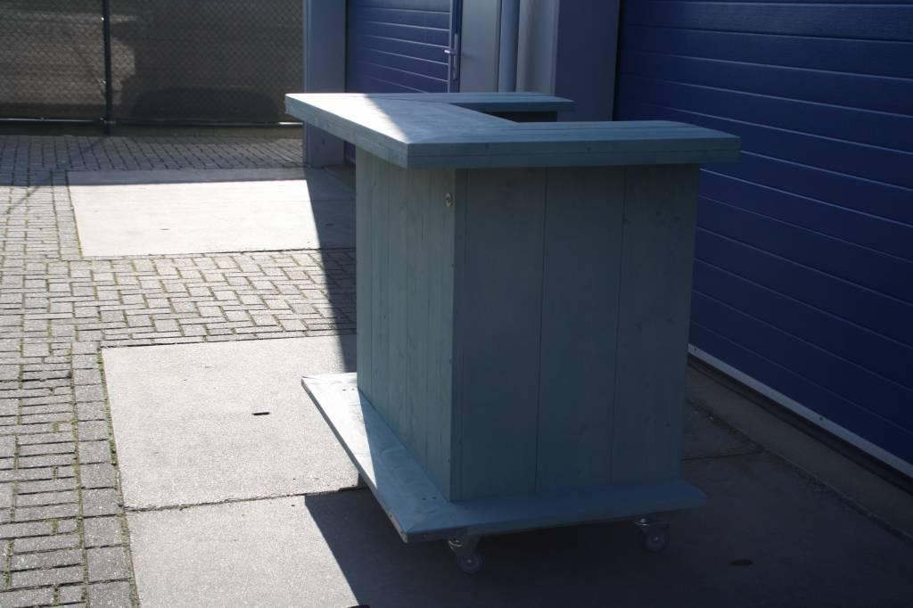 Leonard Bar / Balie / Toonbank van steigerhout verrijdbaar  in Mint wash