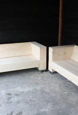 De Hoefslag Loungebank van steigerhout op wielen: Model Hoefslag.