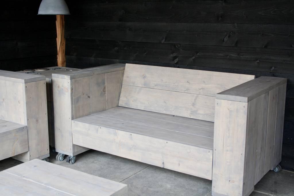 Alpha Loungebank van steigerhout op wielen