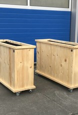 Up Plantenbak / Bloembak van steigerhout op wieltjes