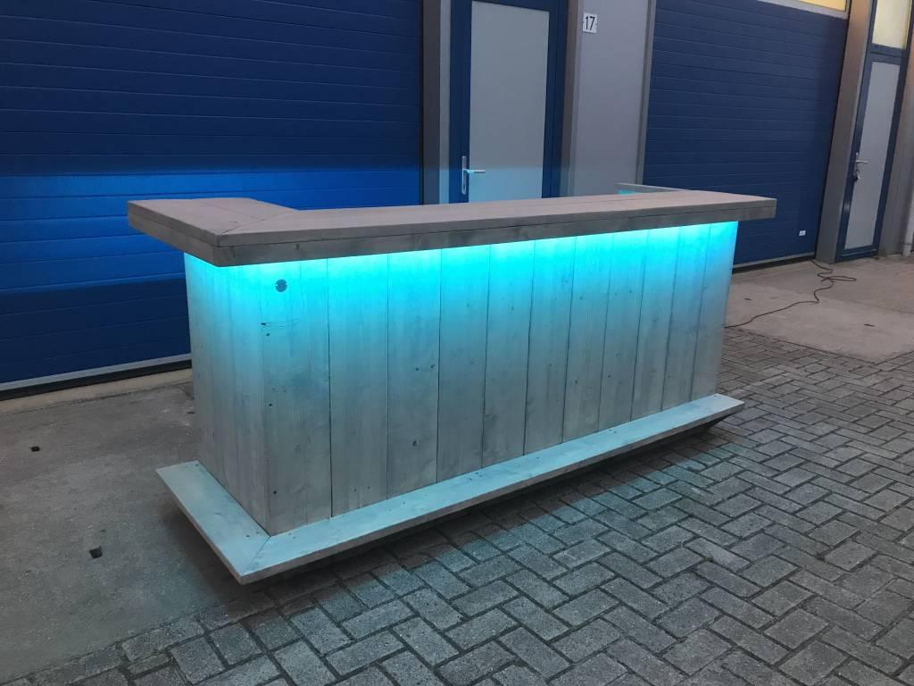 Bar / Toog van steigerhout met LED verlichting - Maatwerk Steigerhout