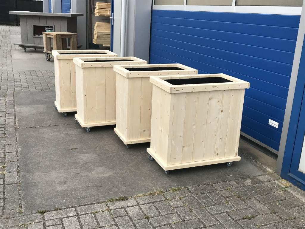 Buitenveldert Plantenbak / Bloembak van steigerhout op wieltjes