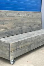 de meiden Verrijdbare Klepbank van steigerhout met opbergruimte op wieltjes