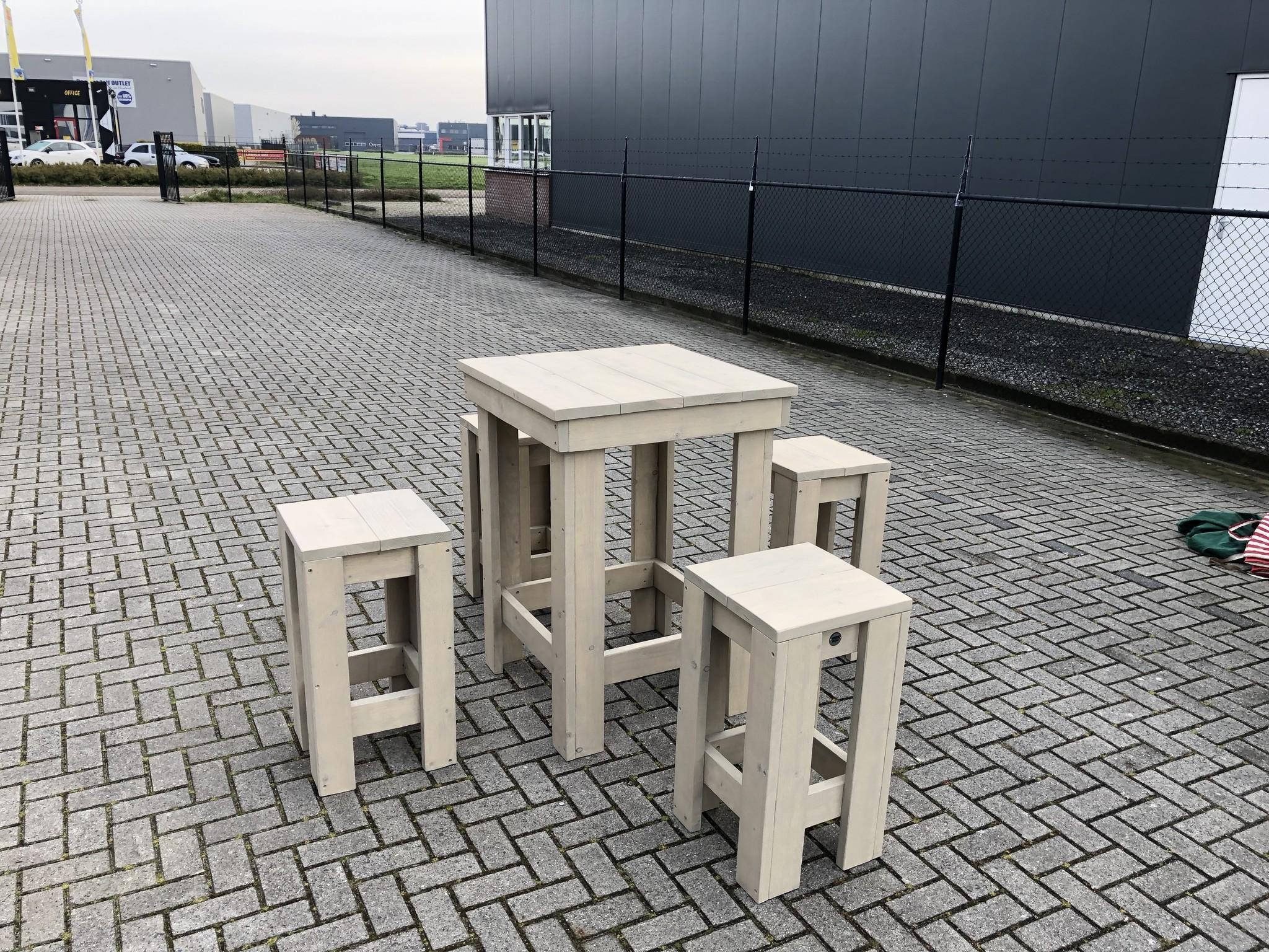 Bartafel En 4 Stoelen.Bartafel Set Maatwerk Steigerhout