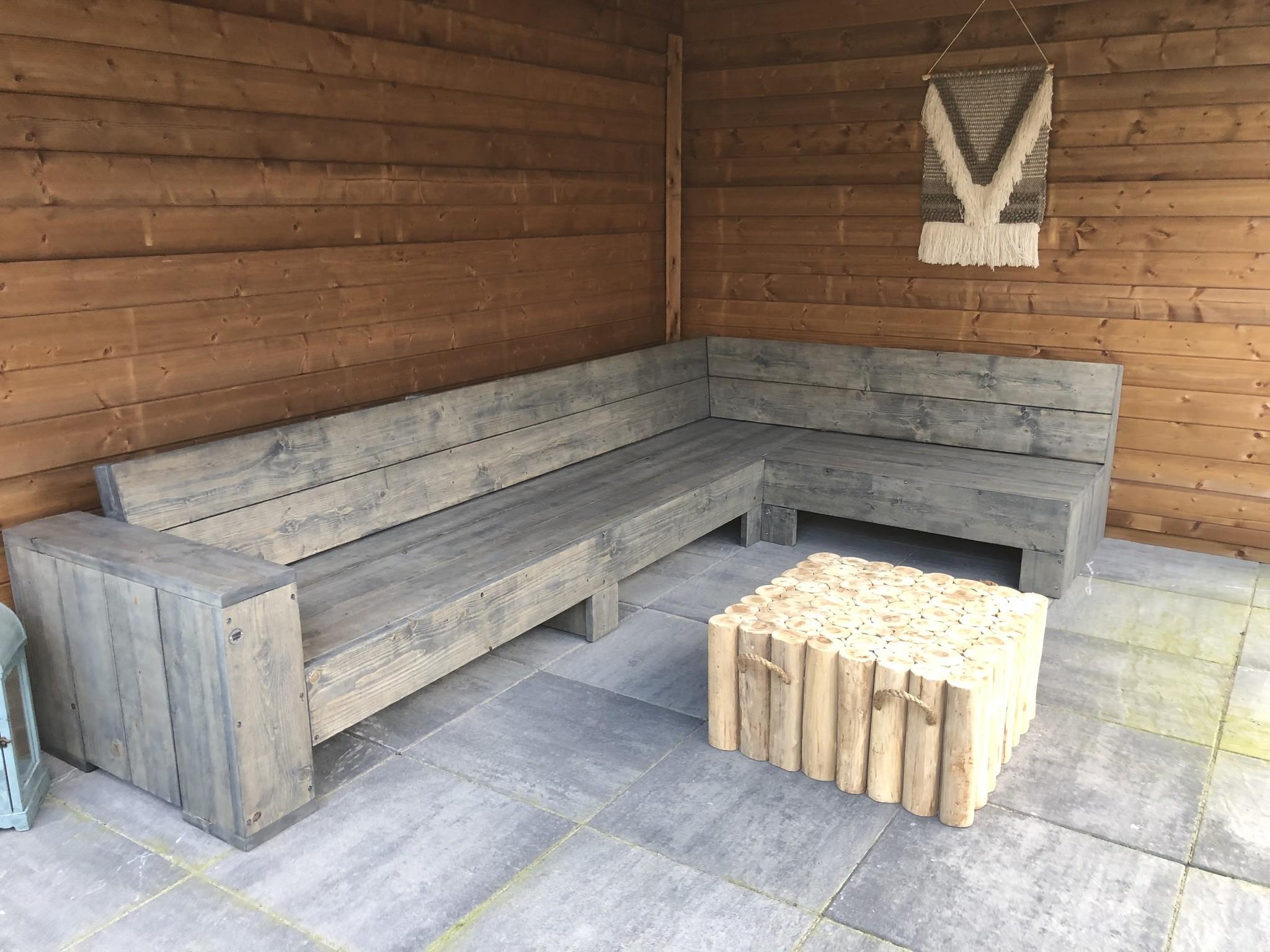 Ezra Hoekbank van steigerhout