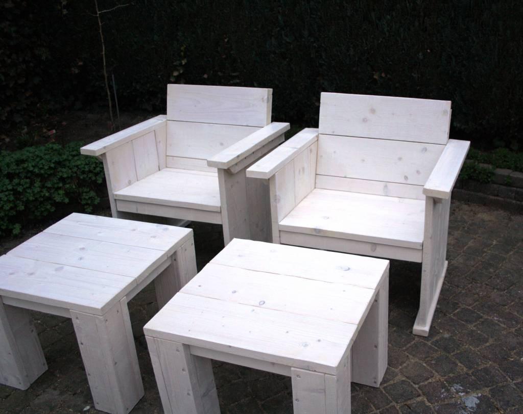 Tuinset van steigerhout in white wash