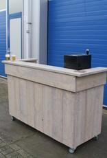 Alwoodly  Verrijdbare Toog /  Tapkast / Bar van steigerhout: Model Alwoodly Plus met LED verlichting.
