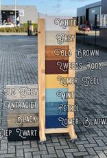 Amsterdam Bistrotafel / Terrastafel / Tuintafel met een steigerhout blad in diverse kleuren