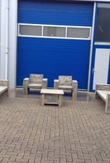 Loungeset van Steigerhout behandeld met antraciet wash