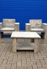 Lounge stoel van steigerhout behandeld met een antraciet wash