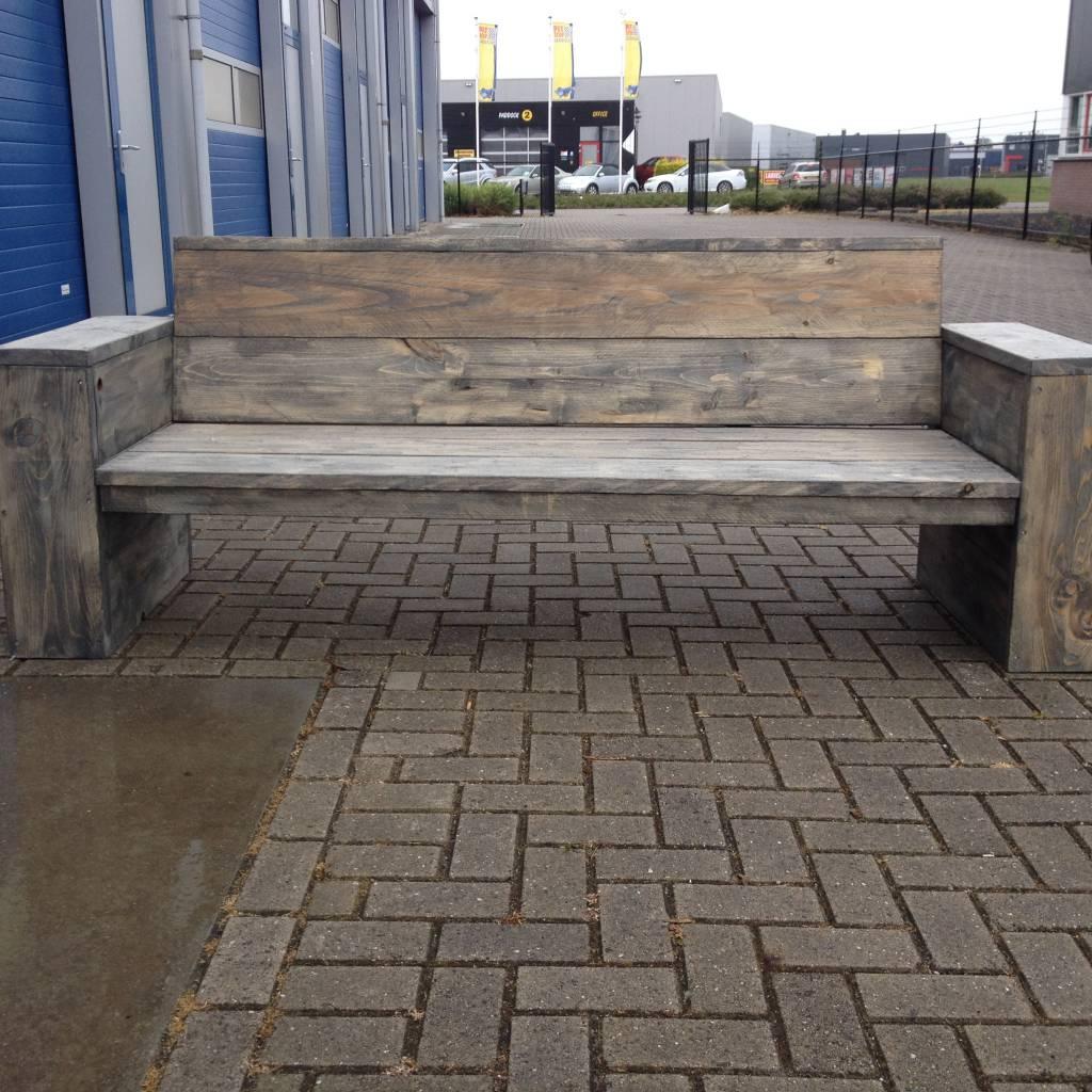 Pego Loungebank van steigerhout behandeld met antraciet wash