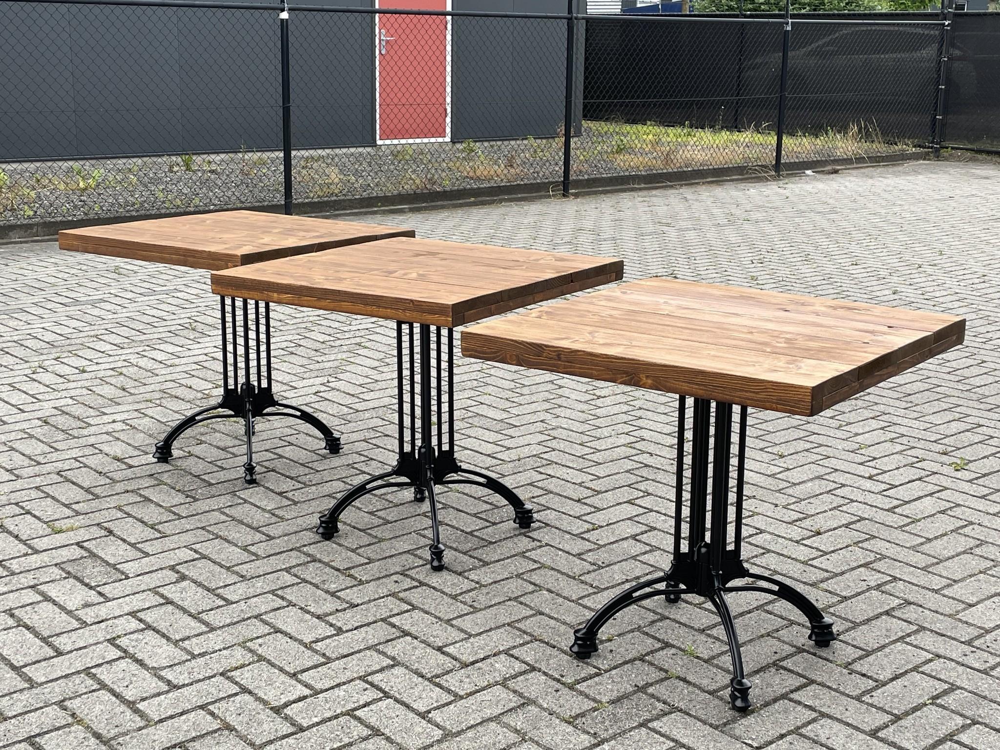 Amsterdam Bistrotafel / Terrastafel / Tuintafel met een steigerhout blad in diverse kleuren : Model Amsterdam