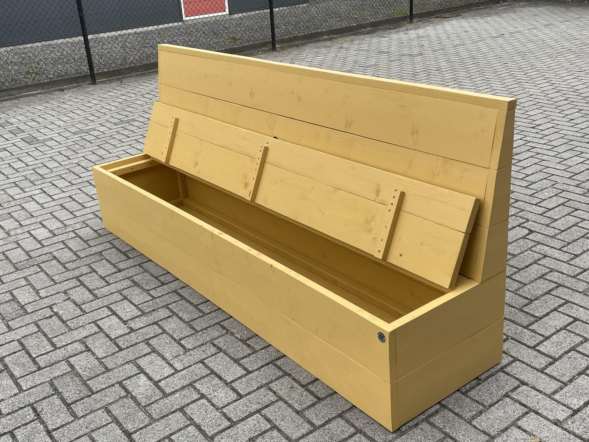 Jeroen Klepbank van steigerhout met opbergruimte: Model Jeroen