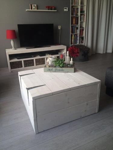 Salon Tafel Dekenkist.Hockers