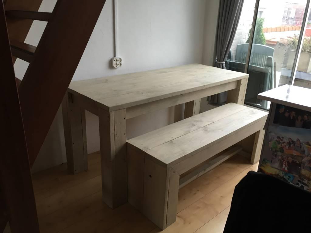 Houten Bank Voor Aan Eettafel.Eettafel Set Maatwerk Steigerhout