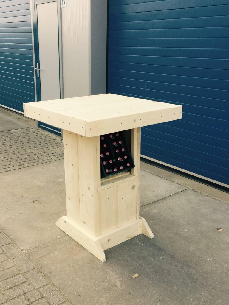 huub Bartafel / Partytafel van steigerhout met Bierkrat vak