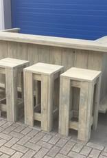 Luc van Vlaanderen Verrijdbare Bar/ Balie van steigerhout met kastje en extra plank