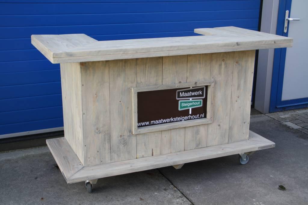 Leonard Bar / Balie / Toonbank van steigerhout verrijdbaar: Model Leonard