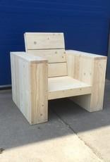 Alvega Lounge stoel met hoge ruig van steigerhout: Model Alvega