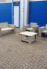 Kampen Lounge stoel van steigerhout behandeld met een antraciet wash