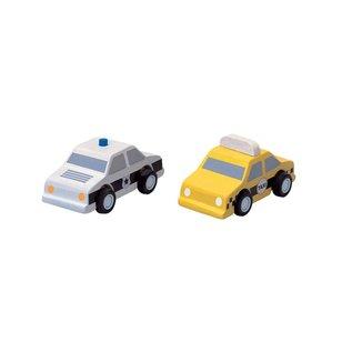 Plan Toys Taxi en politiewagen