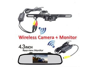 "Parkeerhulp - monitor  spiegel 4.3"" plus camera draadloos"