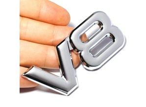 Sticker V8 zilver