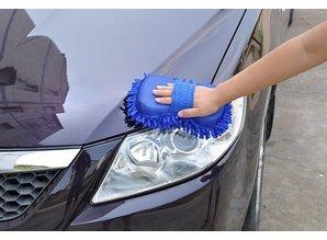 Autowas handschoen fiber blauw