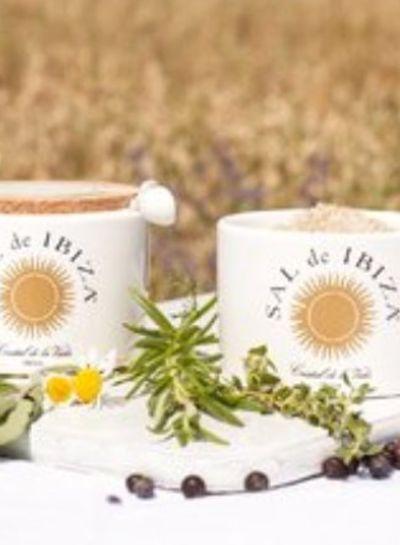 Sal de Ibiza Sal de Ibiza witte pot Fleur de Sel met kruiden Isla Blanca