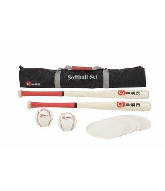 Ubergames Softball Set- aus ECO-hartholz in praktischer Transporttasche