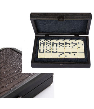 Ubergames Domino - Kunstleer Krokodille - Luxe tote houten koffer