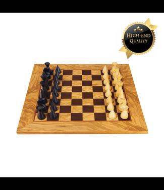 Ubergames Olive Burl Schachspiel mit modernen Schachfiguren 40x40 cm