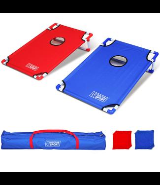 Doctor Sport Doppel-CORNHOLE-Set Blau-Rot in Trage-Tasche