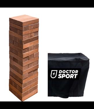 Doctor Sport Dunkler Holzturm - Stapelspiel - bis zu 80 cm - Tragetasche mit Reißverschluss