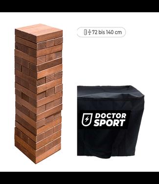 Doctor Sport Luxuriöser Stapelturm aus dunklem Holz mit einer Höhe von bis zu 140 cm in einer engen Tasche