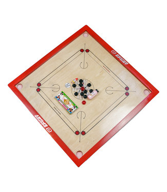 Doctor Sport Carrom - Komplett - Official Made in India - 84 x84 cm - Rote Farbe