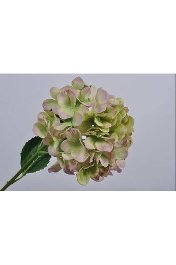 Silk-ka Hydrangea branch green / pink