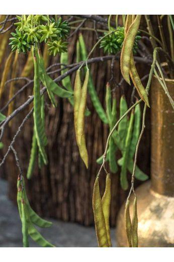 Silk-ka Branche de bois haricots ocre / vert 125 cm