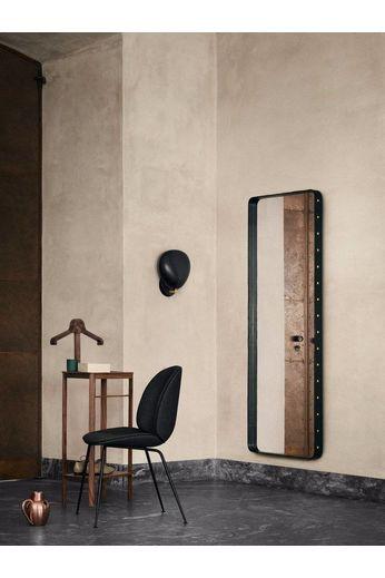 Gubi Miroir mural Adnet - Rectangulaire - 70x180 - Cuir Noir