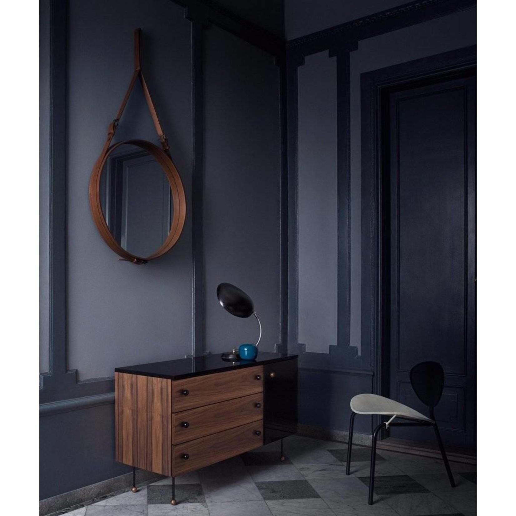 Gubi Wall mirror Adnet - Round - Ø70 - Tan Leather