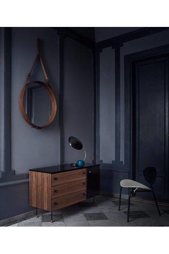 Gubi Miroir mural Adnet - Rond - Ø70 - Cuir Fauve