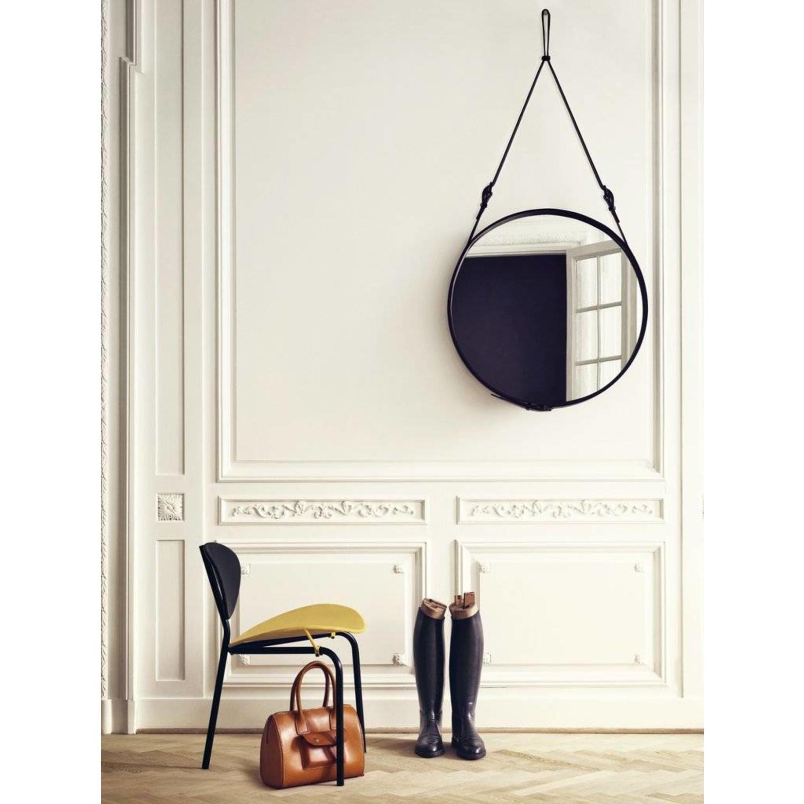 Gubi Miroir mural Adnet - Rond - Ø58 - Cuir noir