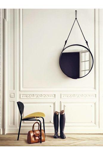 Gubi Wandspiegel Adnet - Rond - Ø58 - Black Leather