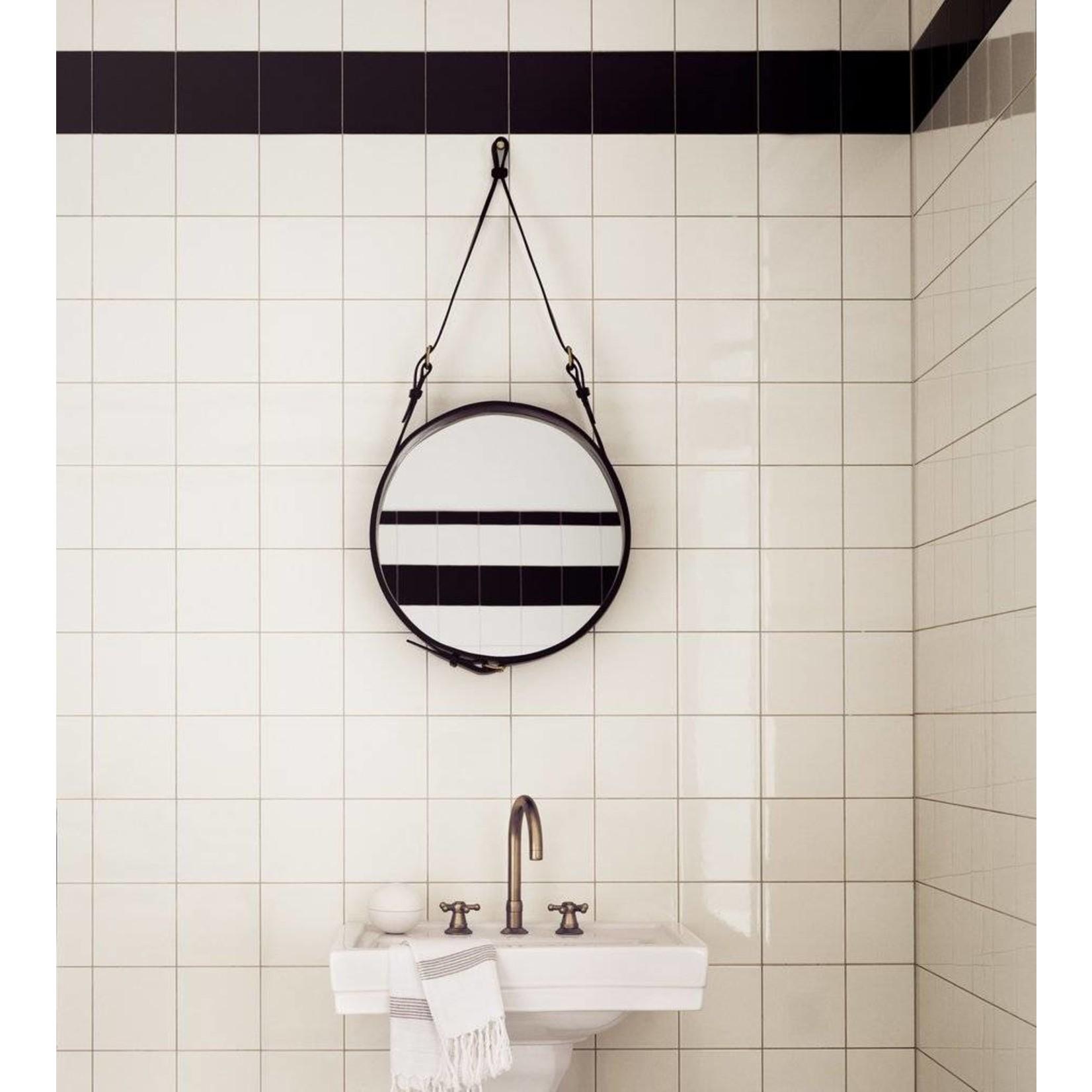 Gubi Wandspiegel Adnet - Rond - Ø45 - Black Leather