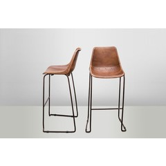 Barstool - Vintage brown leather